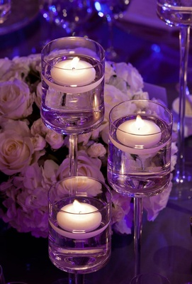 Purple wedding floating candle centerpieces