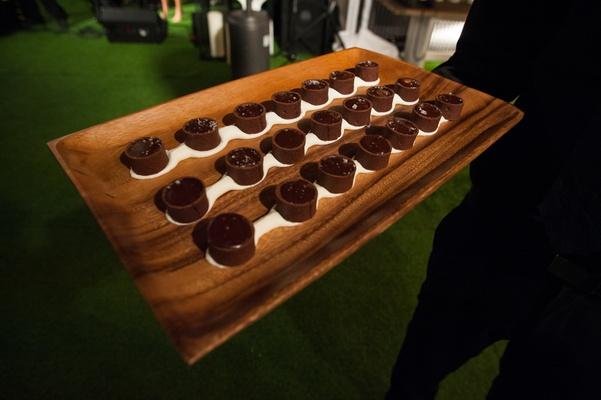 Mini chocolate lava cakes on wood platter