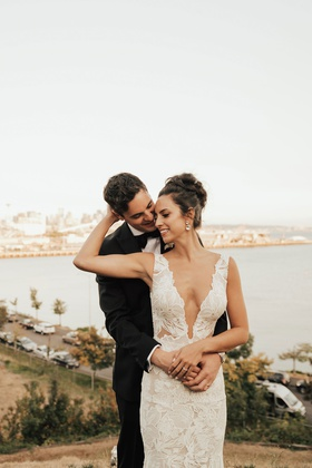 bride in low plunging neckline gown hair up updo puget sound wedding seattle destination