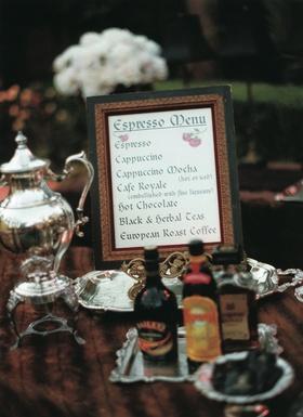 Coffee bar menu with Bailey's and Kahlua