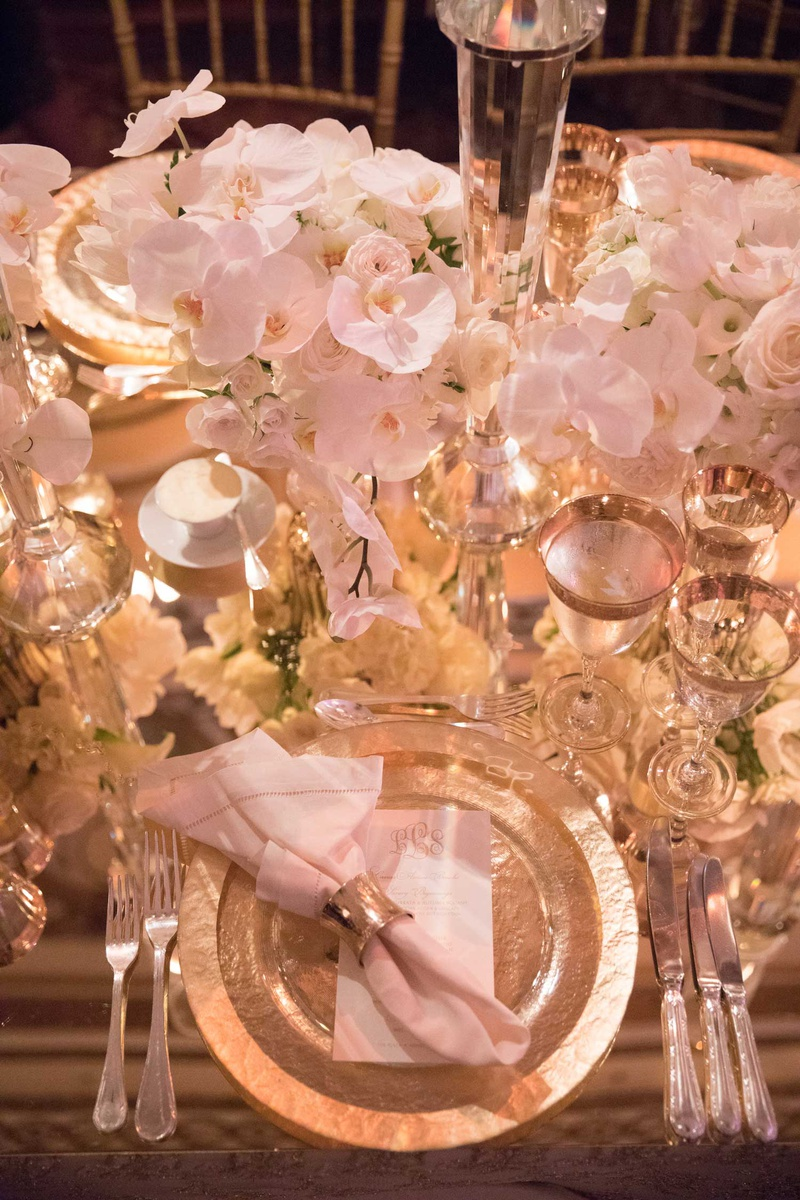 wedding reception place setting monogram menu charger metallic napkin ring mirror top orchid rose