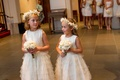 Flower girl dresses with tiered tulle skirt and flower wreath