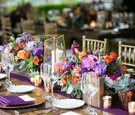 berry tones pink purple green orange gold rustic tablescape concept reception
