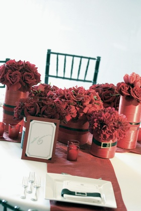 Red wedding reception decorations and red flowers