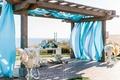 Jewish wedding chuppah with ocean view Terranea blue fabric wood pergola arch