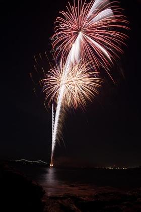 Wedding reception fireworks at coastal reception