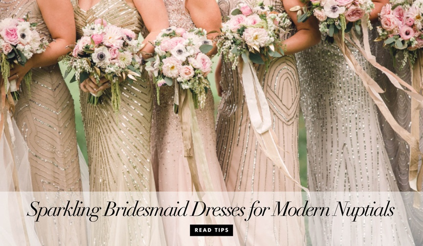 Metallic bridesmaid dresses with sequins, beads, and shimmer