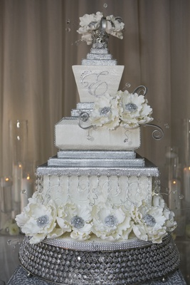 White And Silver Wedding Cake With Sugar Flowers Crystals