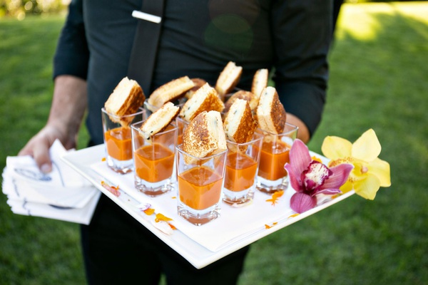 wedding reception cocktail hour mini grilled cheese tomato soup in glass shooter shot glasses orchid