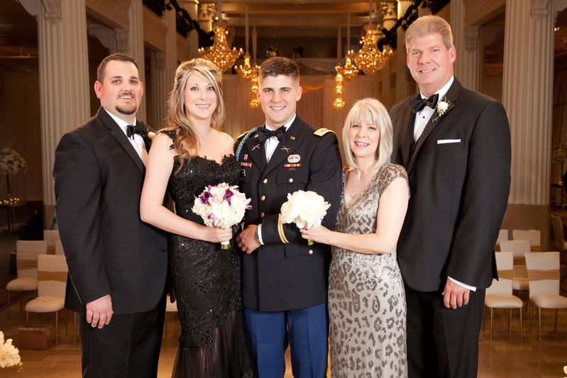 Military Dress Blues groom with mom in leopard-print dress