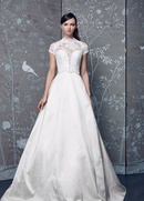 Legends Romona Keveza Fall 2018 collection taffeta short sleeve ball gown with illusion neckline