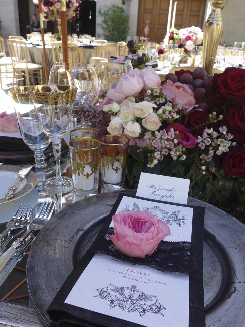 Black Lace Menu Card Inside Weddings