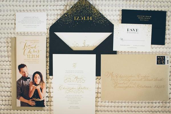 save the date blowing confetti, confetti envelope, white gold invitation, gold envelope wedding