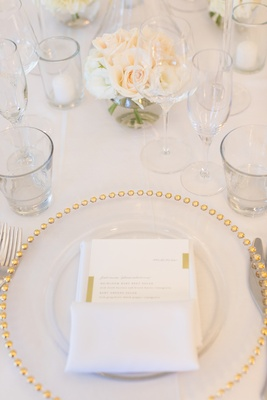 clear charger with gold-dotted rim at wedding tablescape