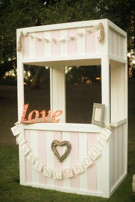 Pink and white antique kissing booth shabby chic reception
