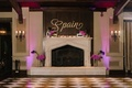Wedding sign over fireplace mantel gold calligraphy wood sign sconce checkerboard dance floor