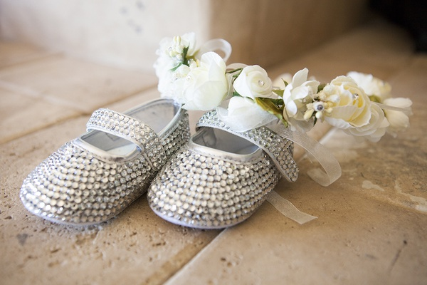 Flower girl baby shoes with rhinestones crystals and white flower headpiece with sheer ribbon