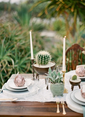 reception table with potted cactus and tapered candles