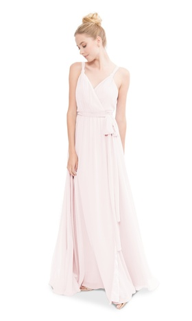 V-neck wrap style gown with twisted straps and a flattering full skirt.