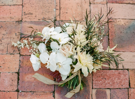 rustic glam bridal bouquet with orchids and