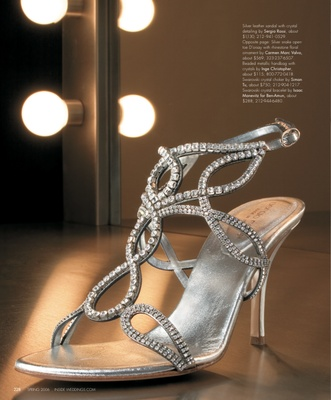 Silver leather sandal with crystal detailing by Sergio Rossi, $1,130.
