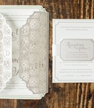 pastel invitation suite with laser-cut sleeve
