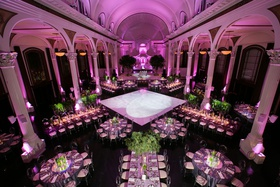 Wedding reception vibiana pink lighting violet greenery round rectangular tables dance floor columns
