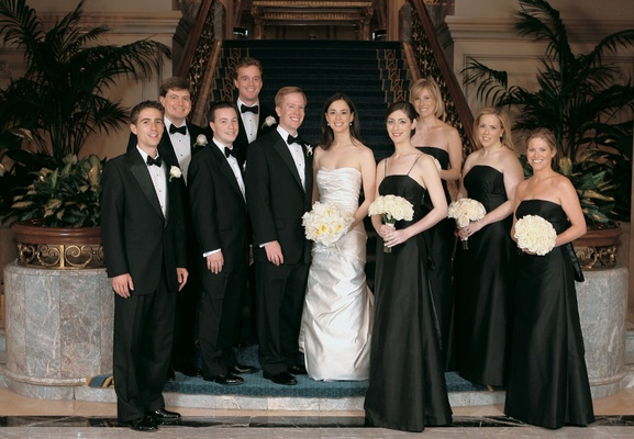 Bride and groom with bridal party at the Four Seasons Hotel Chicago
