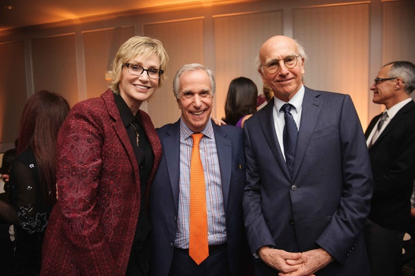 Jane Lynch, Henry Winkler, and Larry David smile pose at Carol Leifer and Lori Wolf's wedding