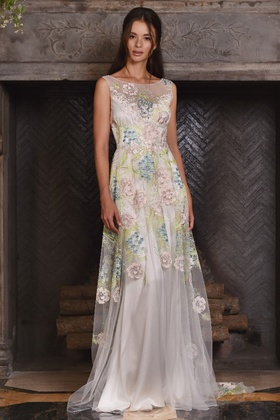 Claire Pettibone Four Seasons Couture Collection Maia tulle a-line bridal gown illusion neckline