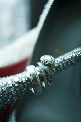 Vintage-style engagement ring on Louboutin heel