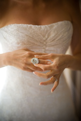 Bride wedding ring jewelry in bridal gown