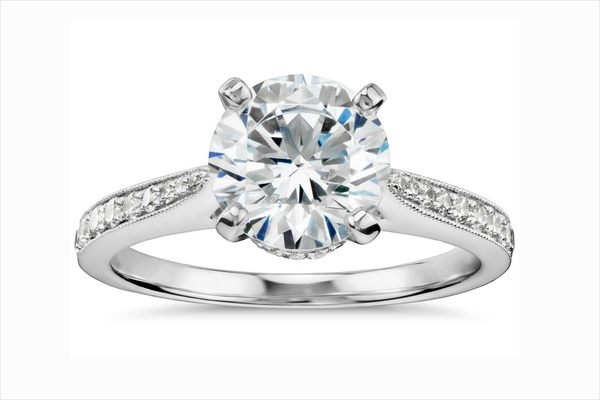 Monique Lhuillier for Blue Nile solitaire diamond engagement ring with diamond band