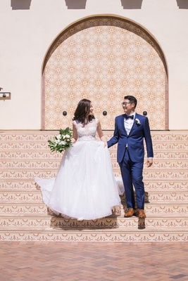 asian bride and groom wedding inspiration, bride in berta wedding dress, groom in navy suit