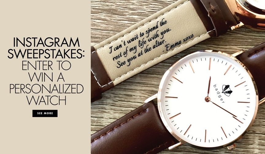 Enter to win a personalized watch from Swanky Badger Inside Weddings sweepstakes