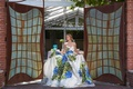 Romona Keveza, strapless ballgown, blue and green wedding dress