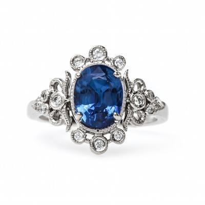 Claire Pettibone x Trumpet & Horn Antoinette blue sapphire engagement ring
