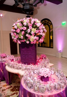 Purple taffeta and pink flowers on gift table
