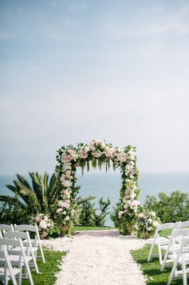 wisteria lane flowers, full rose petal aisle, floral arch, outdoor wedding, bel air bay club