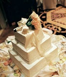 White three layer wedding cake design
