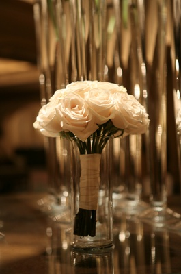 Bridesmaid's bouquet of white roses
