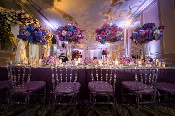 centerpieces made from blue, white, pink, and purple hydrangeas