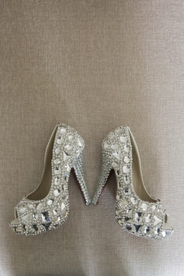 Bridal shoes with peep toe and hundreds of crystals