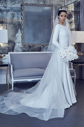 Romona Keveza Spring 2019 collection crepe long sleeve trumpet gown with illusion overskirt