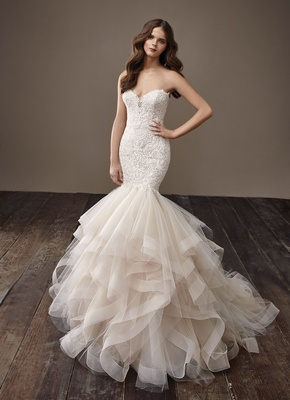 df100b29c3cc Badgley Mischka Bride 2018 collection wedding dress Brianna mermaid  horsehair skirt ruffle strapless.