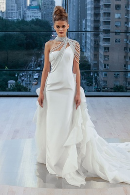 """Liberty"" Ines Di Santo fall 2018 wedding dress one shoulder ruffle train bolero"