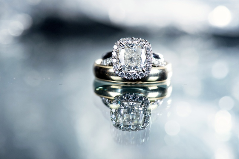 Jewelry Photos Silver Wedding Band And Engagement Ring Inside