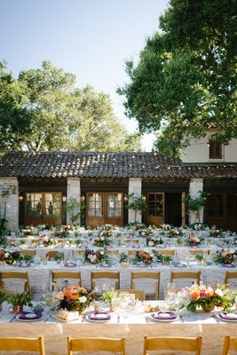 holman ranch wedding rustic courtyard with purple, green, orange