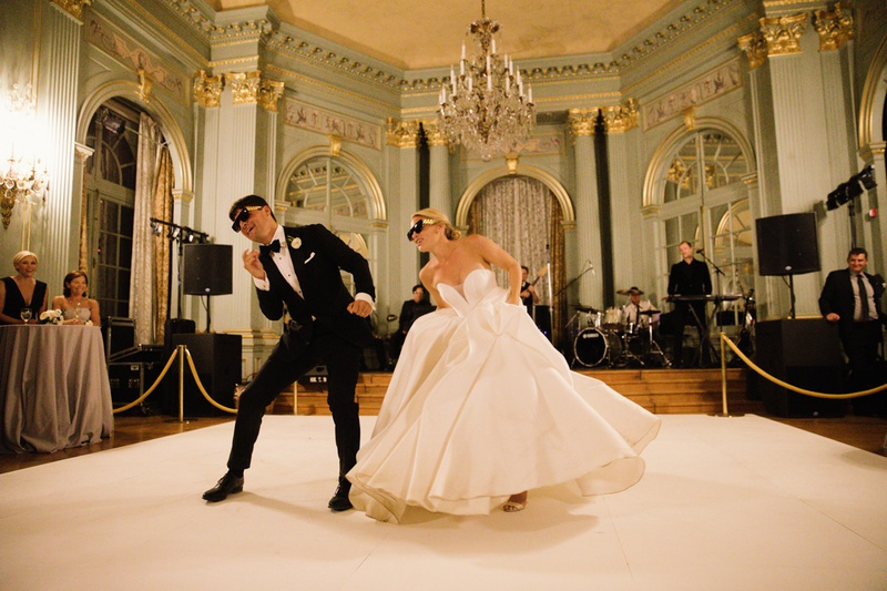 fun and crazy first dance with novelty sunglasses