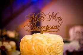 custom mr. and mrs. thompson cake topper portland oregon wedding gold sparkly calligraphy